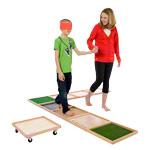 Balancebrett - Sinnespfad mit 8 Boxen aus Holz, 40x40x3 cm