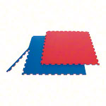 Gymnastikmatten - Sportmatte Double Competition inkl. Randstücke, LxBxH 100x100x2 cm, rot/blau