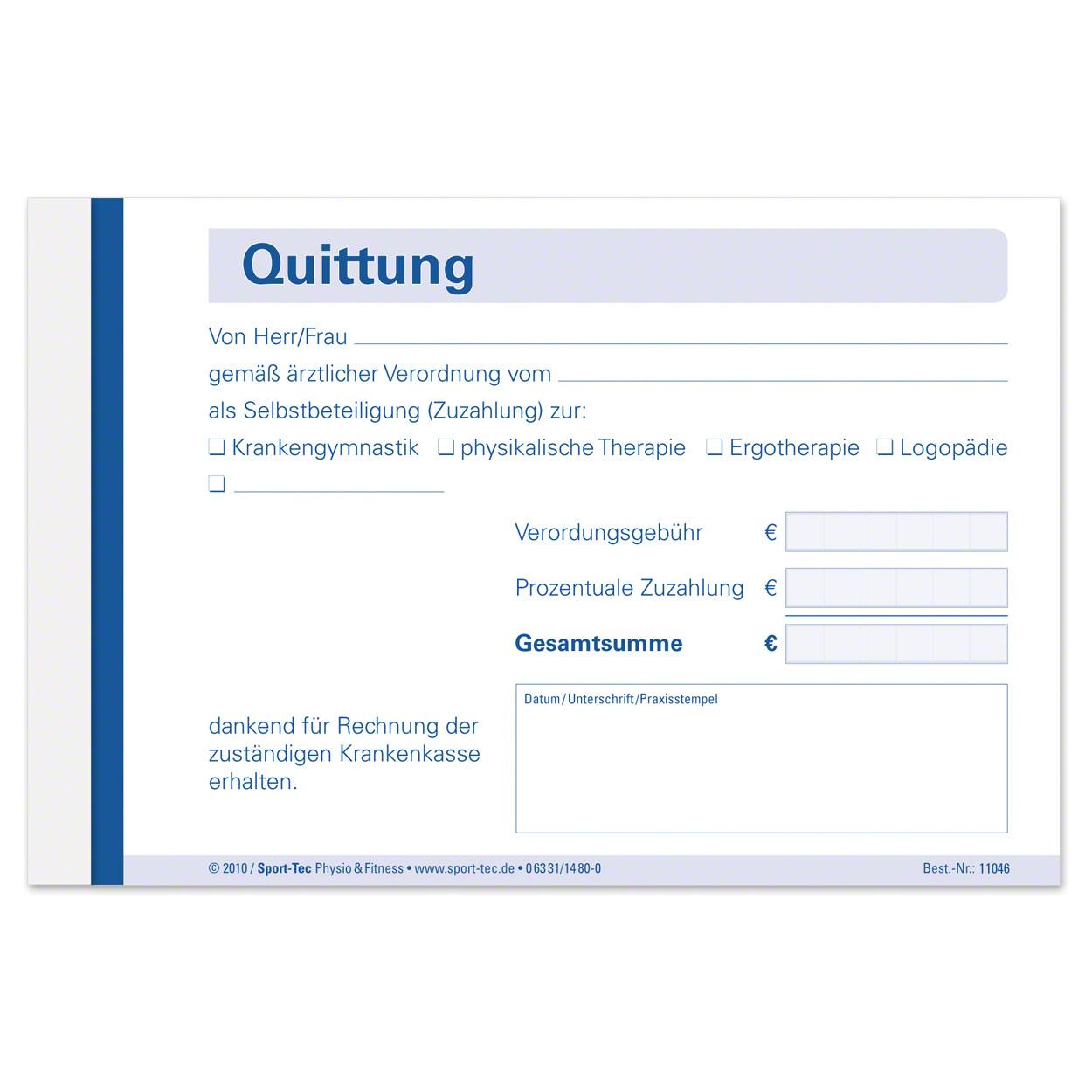 Quttungsblock Quittungsbuch Quittung Quittungen 5x50 Blatt