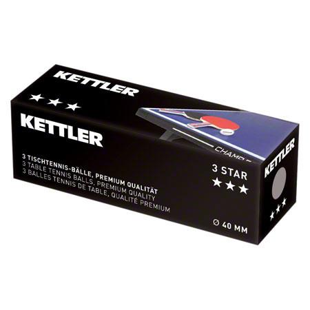 KETTLER Tischtennisbälle 3 Stern, Ř 40 mm, 3 Stück 01512