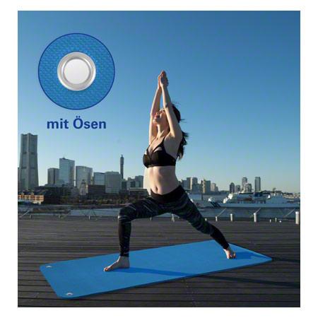 Sport-Tec Pilates- und Yogamatte inkl. Ösen, LxBxH 180x60x0,6 cm, blau 03019