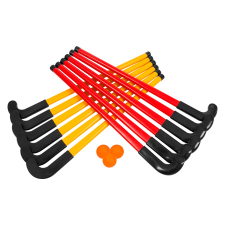 Hockey-Set 15-tlg.: 6 x Schläger rot, 6 x Schläger gelb, 3 x Bälle 10240