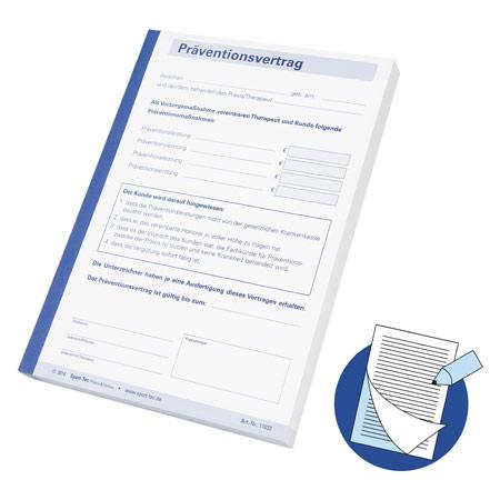 Sport-Tec Präventionsvertrag durchschreibend, 1 Block ŕ 100 Sätze (200 Blätter), DIN A5 11033
