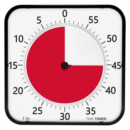 TimeTimer Time Timer MAX Tischuhr mit akustischem Signal, 5 Min. bis 120 Min., 40x40 cm 14046