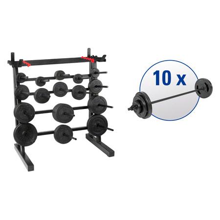 pumpset!-Ständersystem mit 10 Langhantel-Sets, 91-tlg. 22520