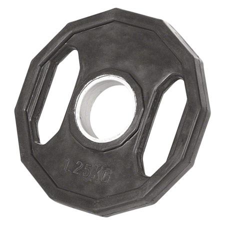 Sport-Tec Olympia Hantelscheibe mit Gummiüberzug und Griff, Bohrung ř 5 cm, 1,25 kg, Stück 30087