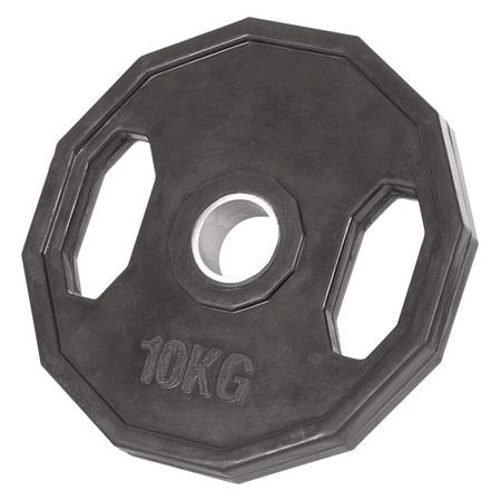 Sport-Tec Olympia Hantelscheibe mit Gummiüberzug und Griff, Bohrung ř 5 cm, 10 kg, Stück 30090