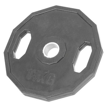Sport-Tec Olympia Hantelscheibe mit Gummiüberzug und Griff, Bohrung ř 5 cm, 15 kg, Stück 30091