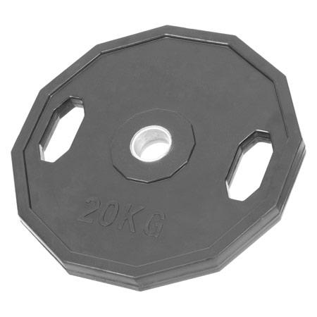 Sport-Tec Olympia Hantelscheibe mit Gummiüberzug und Griff, 20 kg, Stück 30092