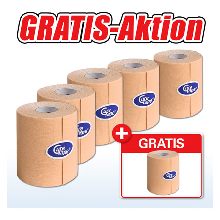 Cure Tape, Aktion: 5 Rollen, 5 m x 7,5 cm, neutral + 1 Rolle GRATIS