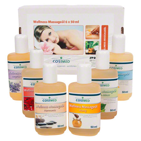 Probierset Wellness-Massageöl, 6 Flaschen à 50 ml